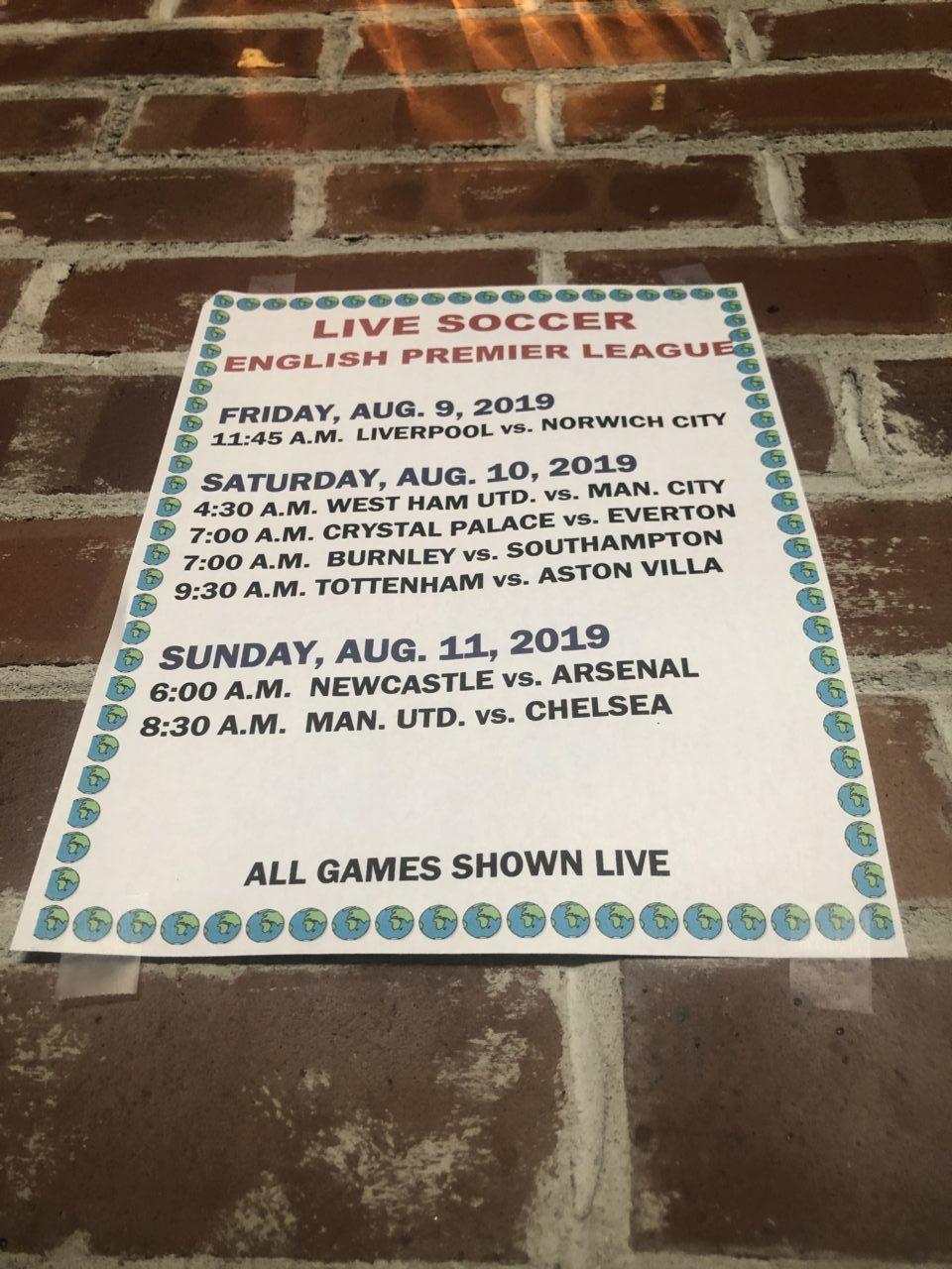 EPL football - August 2019 schedule